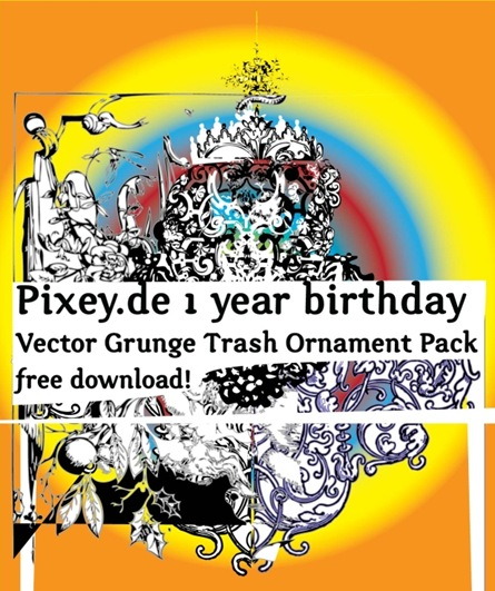 pixey_1year_birthday_vector_grunge_trash_ornament_pack