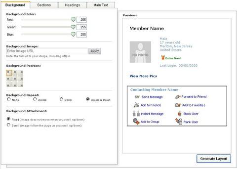 myspace_profile_generator