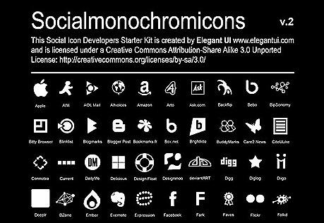 socialmonochromicons