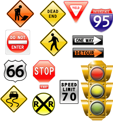 vector_road_signs_and_traffic_light